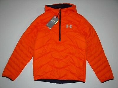 New Under Armour ColdGear Boys 1/4 Zip Hooded Poly Filled Puffer Jacket Medium