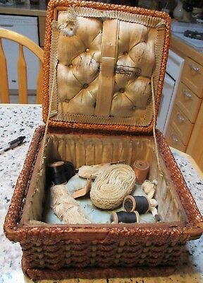 ANTIQUE WOVEN SEWING BASKET, SATIN LINED w/CONTENTS