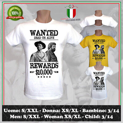 T-Shirt Wanted Bud Spencer Terence Hill Western Cult Film Tv Uomo Donna Bambino