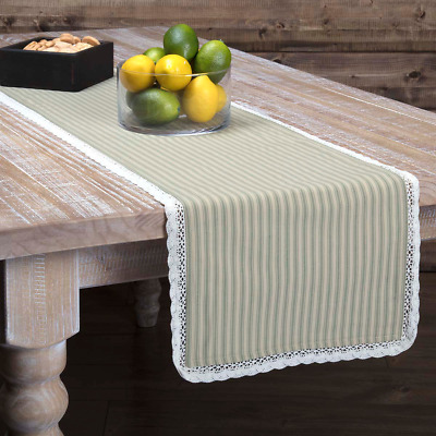 Choice of 2 Sizes Green /& White Gingham Check Rib Weave Cotton Table Runner