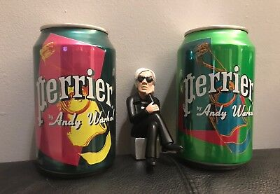 2 Rare Unopened Andy Warhol Perrier Water Cans Pop Art