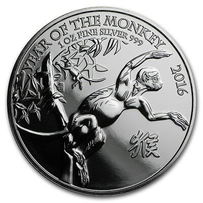 Silver Coin UK - Year of the Monkey 2016 - 1 oz 99.9 % pure silver - milk marks