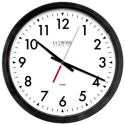 "404-2636 La Crosse Clock Company 14"" Commercial Analog Quartz Wall Clock - Black"