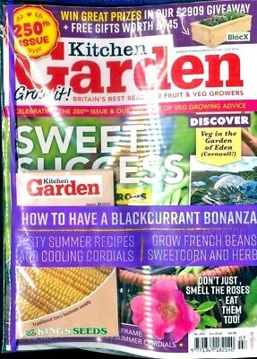 KITCHEN GARDEN MAGAZINE JULY 2018 WITH 4 x PACKS OF FREE SEEDS WORTH £5.95