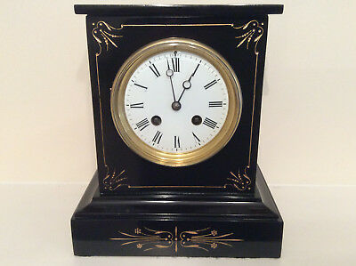 A Small Delightful and Elegant French Black Slate Mantel Clock: c1880s