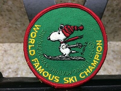 "Vintage Peanut Snoopy Skiing ""World Famous Ski Champion"" 3"" Round Patch"