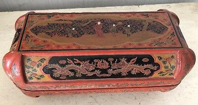 Antique Chinese Asian Scalloped Box Polychrome Lacquer Fine Painting Burma?