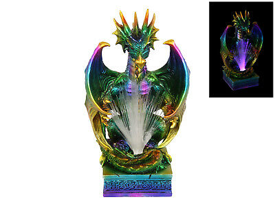 25Cm Coloured Rainbow Dragon With Fibre Optic