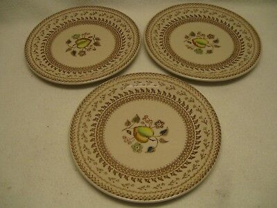 """Johnson Brothers Old Granite Fruit Sampler (3) 6 3/8"""" Bread Plates Used Cond."""