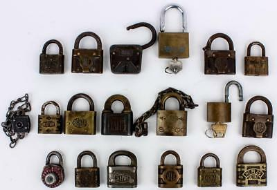 Lot 19 Antique Vintage RR Strongbox Lock Padlocks Yale, Star, XLCR, Fraim, Eagle