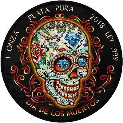 2018 MEXICAN DAY OF THE DEAD LIBERTAD Ruthenium 1 Oz Silver Coin.