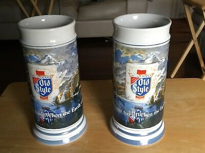 Lot of 2 Old Style Ceramic Beer Steins, Limited Edition G. Heileman Brewery, 198