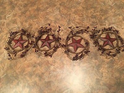 "Country Rustic Primitive 4"" Pip BERRY swag WREATH metal 3"" STAR Lot of 4"