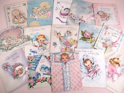 Vintage collection of baby announcement cards 15 in all!