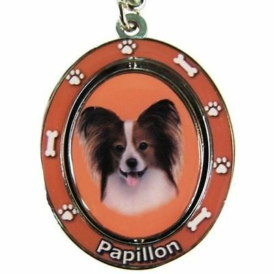 Papillon Dog Spinning Key Chain Fob