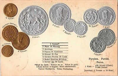 Persia Coin Postcard Embossed Made by Walter Erhard n291