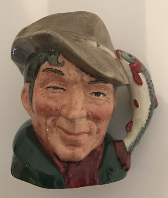 Vtg 1954 Royal Doulton The Poacher Toby Character Jug w/Trout Handle by Max Henk