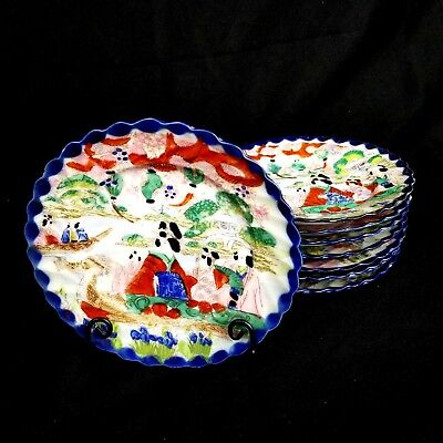 Antique Meiji Period Kutani Japanese Geisha Ware Plate Signed Hand Painted Set 8