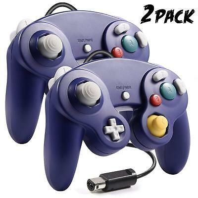 2 Packs Blue Wired Joypad Gamepad Controller For GameCube GC & Wii Console