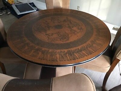 1968 antique hand hammered copper dining table 47in round w chairs