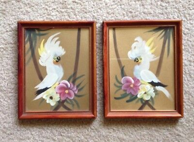 """MCM Tropical Birds Hand Painted Pair White Cockatoos on Gold Background 10""""x8"""""""