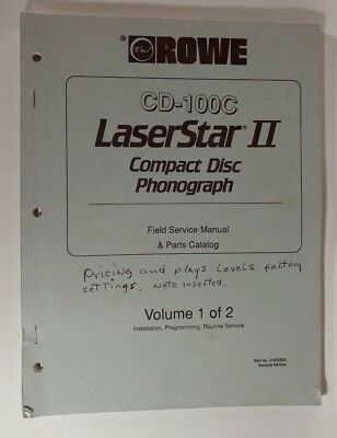 rowe cd-100c  laserstar 2 compact disc phonograph arcade manual #1 of 2