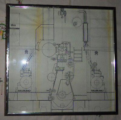 Vintage framed Architect's Drawing - Component From a Ship's Engine Room