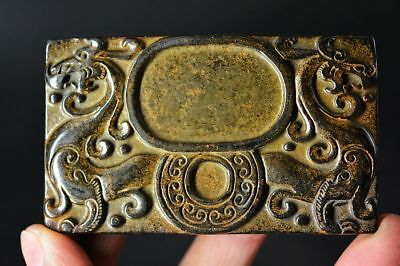 Exquisite Chinese Old Jade Carved *dragon* inkstone  G73