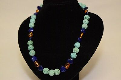Chinese Carved Natural Turquoise, Lapis Lazuli, and Amber Bead Necklace