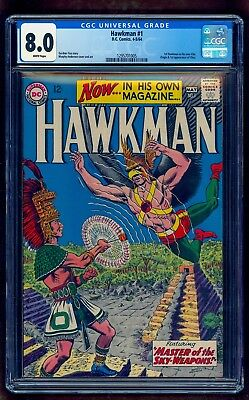 Hawkman 1 Cgc 8.0 ~ Rare White Pages ~ 1St Solo Title ~ Under Graded Look 9.0+