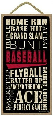"""Baseball Word Art Sports Kids Man Cave Sign Gift For New Player 10""""x5"""" Wood 551"""