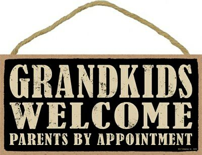 GRANDKIDS WELCOME PARENTS BY APPOINTMENT Funny Gift Wall Sign 10x5 NEW Wood 552