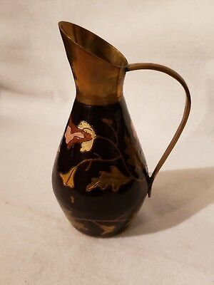 Vintage Indian Hand Painted Brass Vase With Etched Enamel Flowers