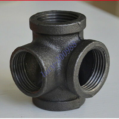 "4Pcs DN15 1/2"" Cross Tee Black Malleable Iron 4 Way Fitting Pipe NPT Decor Style"