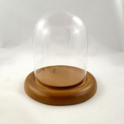 New Oak Base 4.5 x 6 Glass Dome Display Stand, Egg Stand, Pysanky Stand