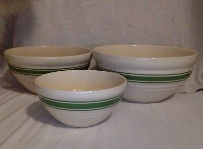 Vintage Pottery Bowls. Set of 3. Yellow Ware With Green Stripes. McCoy.