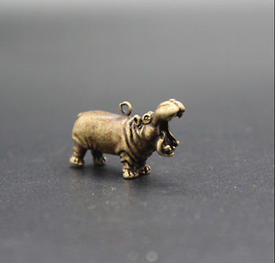 Old Chinese  Pure copper  Hippo  Key chain  Pendant  Collection