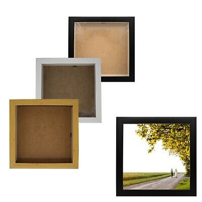 Modern Square Photo Picture Poster Frame Large Multiple Sizes Black White Wooden