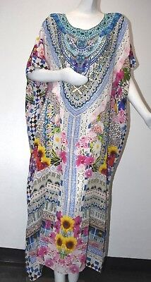 New CAMILLA Round Neck Silk Caftan Maxi Dress Blue White Pink Flowers Crystal OS