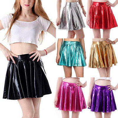 Women's Fashion Leather Flared Pleated A-Line Circle Costume Skater Dance Skirt