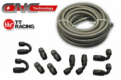 AN4 Stainless Steel Braided Fuel Line 20FT 6M Black Fitting Hose End Adaptor Kit