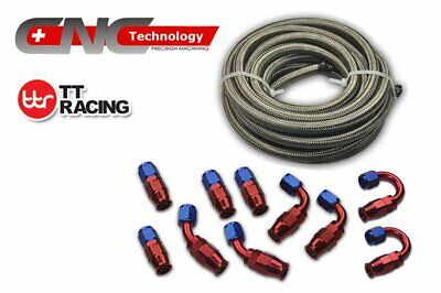 6 AN-6 Stainless Steel PTFE Fuel Line Hose 6M 20FT Swivel PTFE Fitting Set Kit