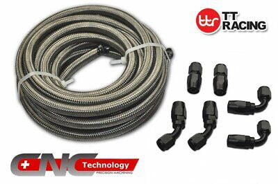 AN8 Stainless Steel Braided Fuel Line 12FT 3.5M Black Fitting Hose End Kit