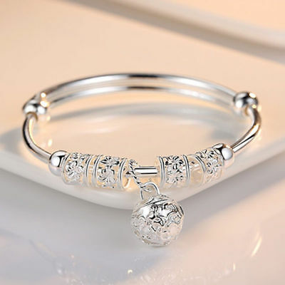 Women 925 Sterling Silver Charm Bangle Cuff Bracelet Ball Jewelry Bracelets AU