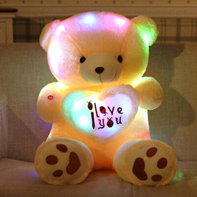 Girls Lovely Plush 50CM Teddy Bear Multi-Color Rotation Glow Light Up Toy Gifts