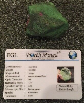 Natural Certified Greenish Red Ruby Zoisite Rough 305Ct