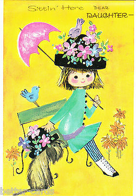 Happy Birthday Daughter Vintage 1970s Greeting Card Cute Girl Puppy