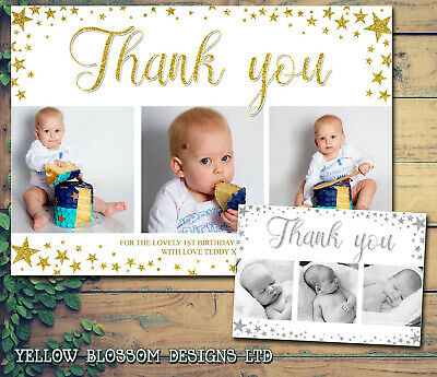 10 Personalised Birthday Thank You Card Christmas Baptism Party Christening Baby