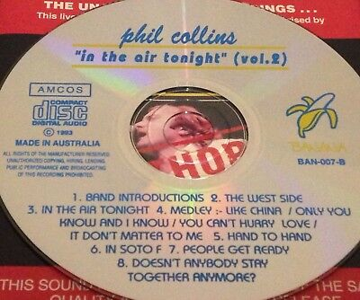 Phil Collins In The Air Tonight (Vol. 2) Australian Live CD Super Rare Genesis