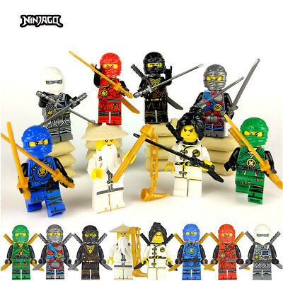 8 Sets Ninjago Jay Cole Ninja with with Weapons  Mini figures Fit Lego Toys